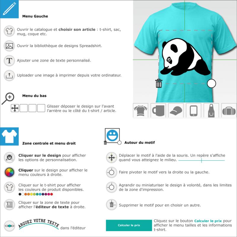 Bébé panda mignon stylisé, dessiné de profil. Le panda est assis. Design noir et blanc à personnaliser en ligne, spécial impression tee shirt ou acces