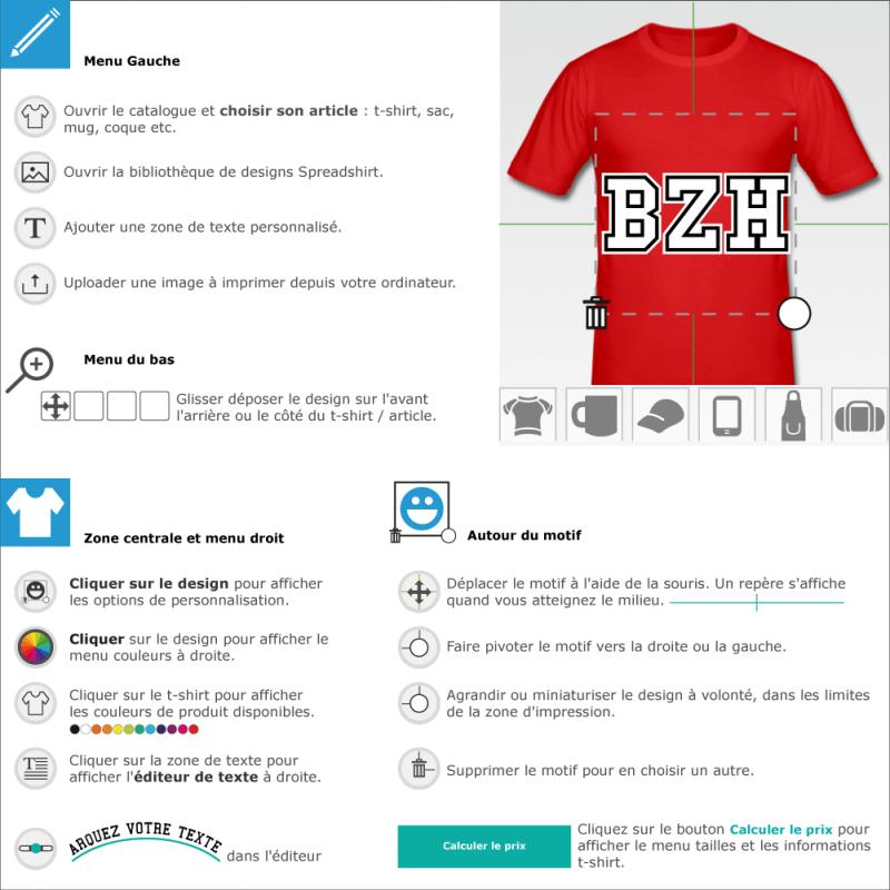 Tee shirt BZH droit à designer en ligne