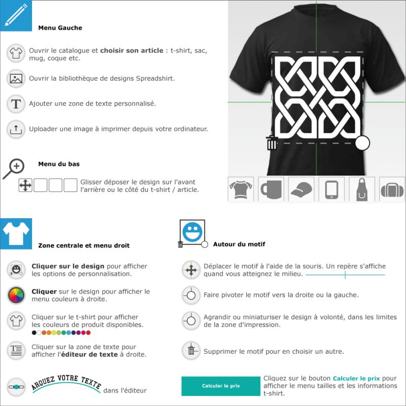 Design celtique carré composé d'une ligne qui se croise et recroise en quatre portions symétriques. Dessin uni spécial impression de t-shirts.