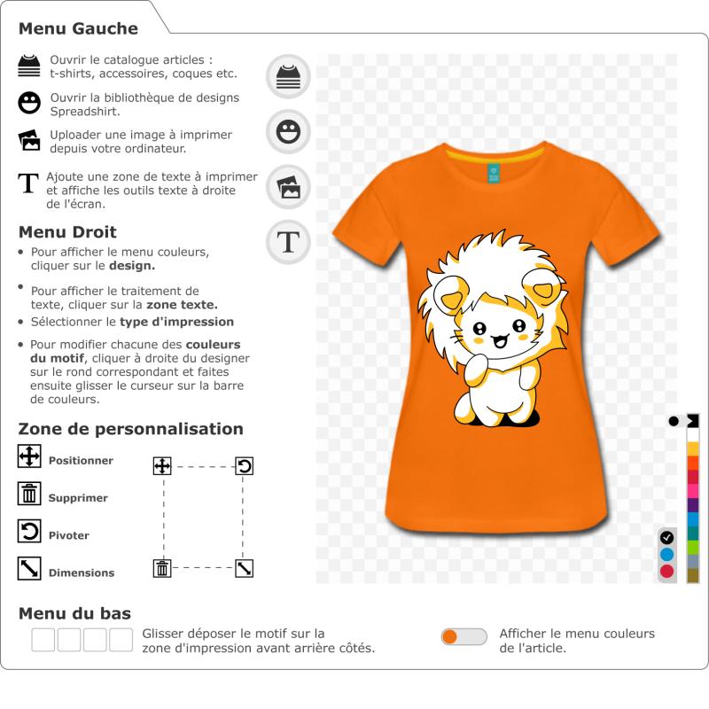 T-shirt chaton kawaii à personnaliser. Petit chat debout à l'expression rieuse, portant une capuche à crinière de lion.