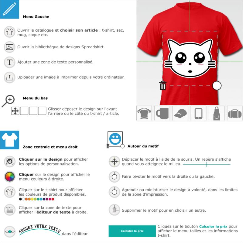 Customisez un tee shirt Chaton manga à tête rigolote à créer en ligne