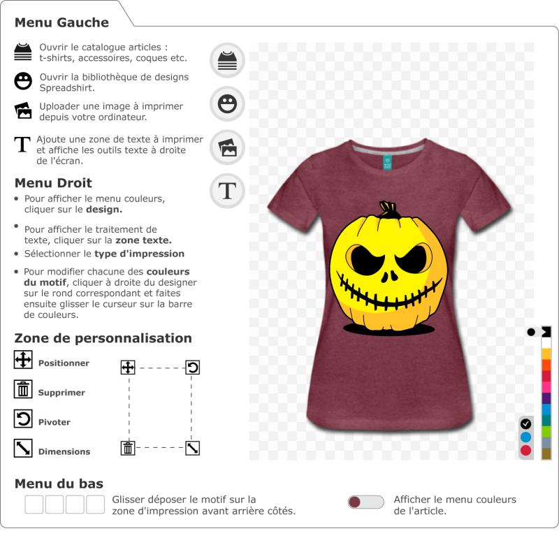 Personnalisez la citrouille et créez votre t-shirt original pour Halloween. Citrouille 3 couleurs à imprimer en ligne.