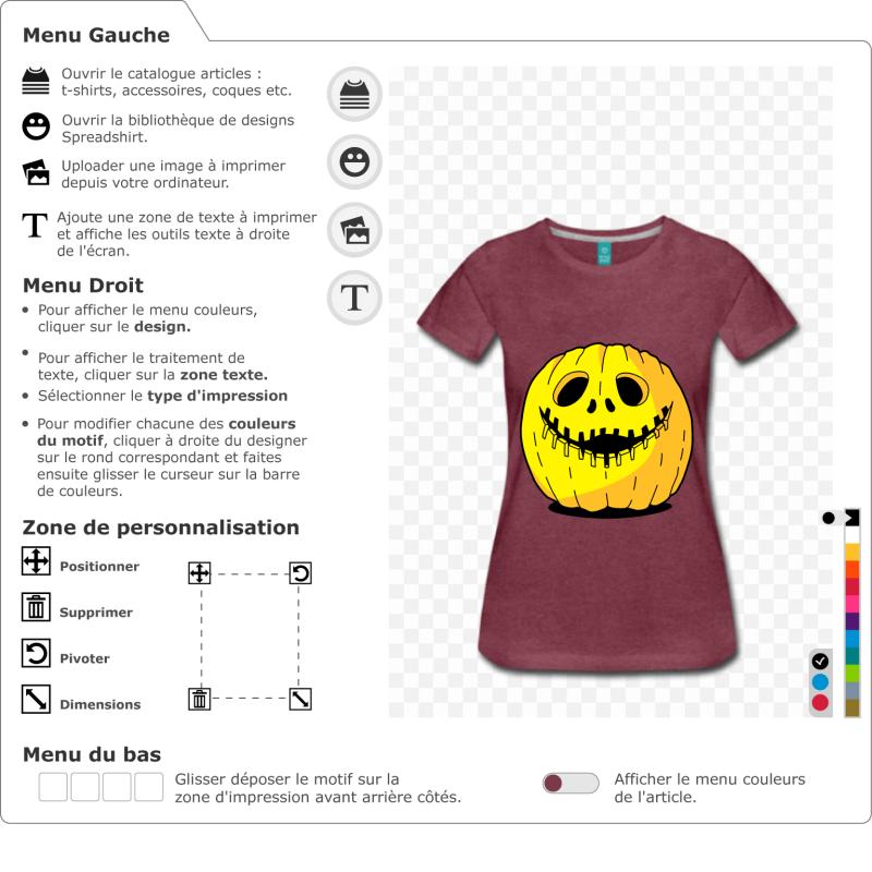 Personnaliser un t-shirt pour Halloween avec cette citrouille originale et rigolote, dessinée en 3 couleurs modifiables.