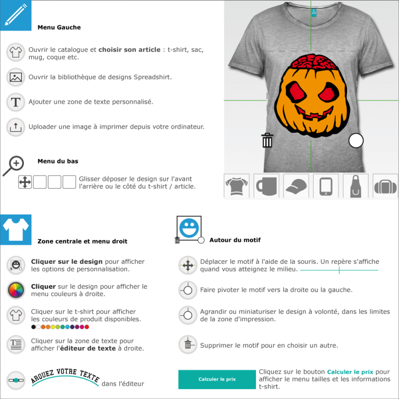 T-shirts  Halloween Citrouille zombie à imprimer soi-même en ligne
