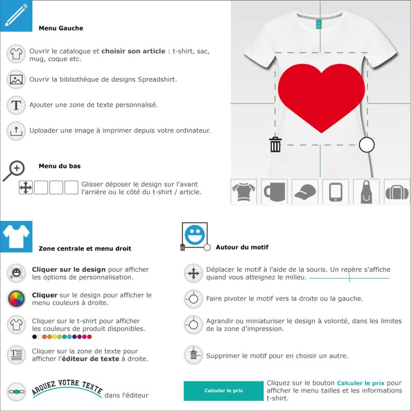 Customisez un t-shirt coeur large pointu à créer et personnaliser en ligne