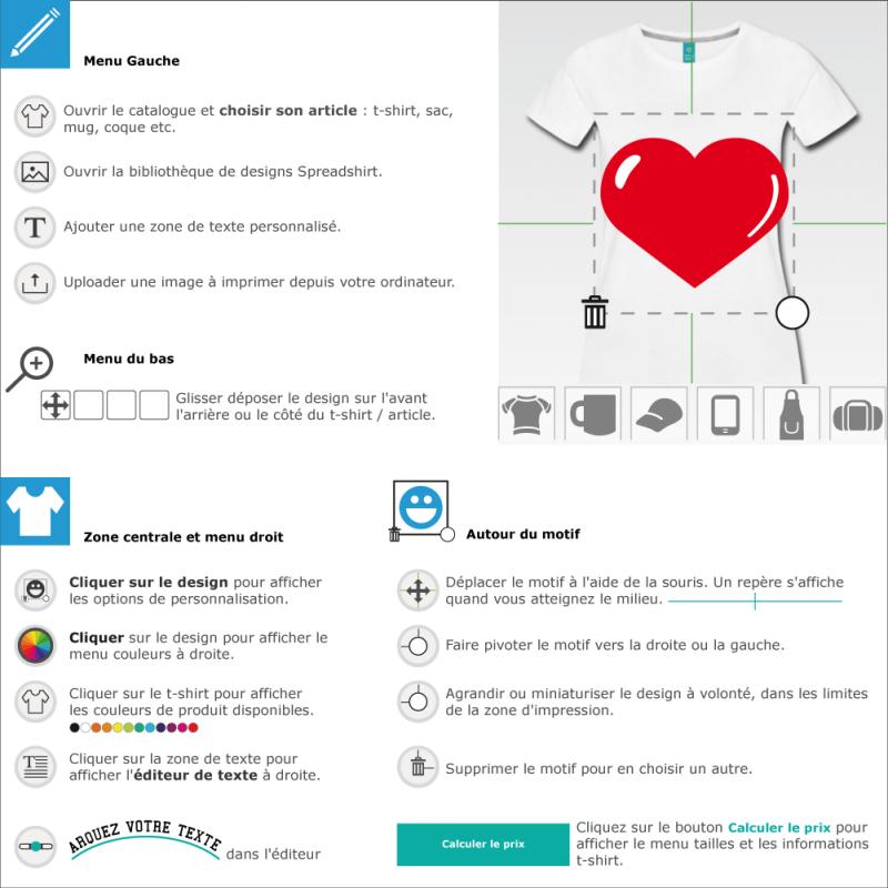 Créer un tee shirt cœur à reflets à imprimer soi-même en ligne