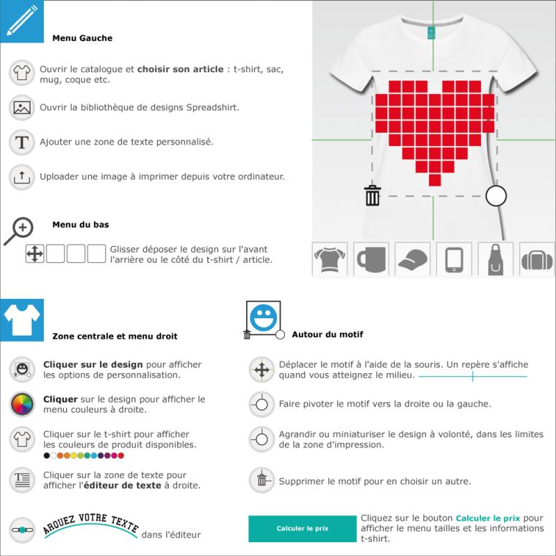 Personnaliser un tee shirt Coeur pixels personnalisé