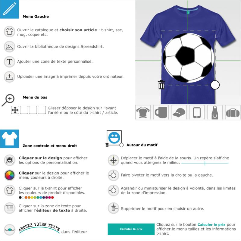 Personnaliser un t-shirt football avec ce ballon simple tricolore dessiné en aplats blancs et noirs et lignes grises, sans contours.