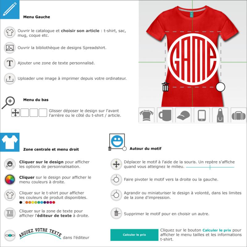 Votre t-shirt Game customisé en ligne