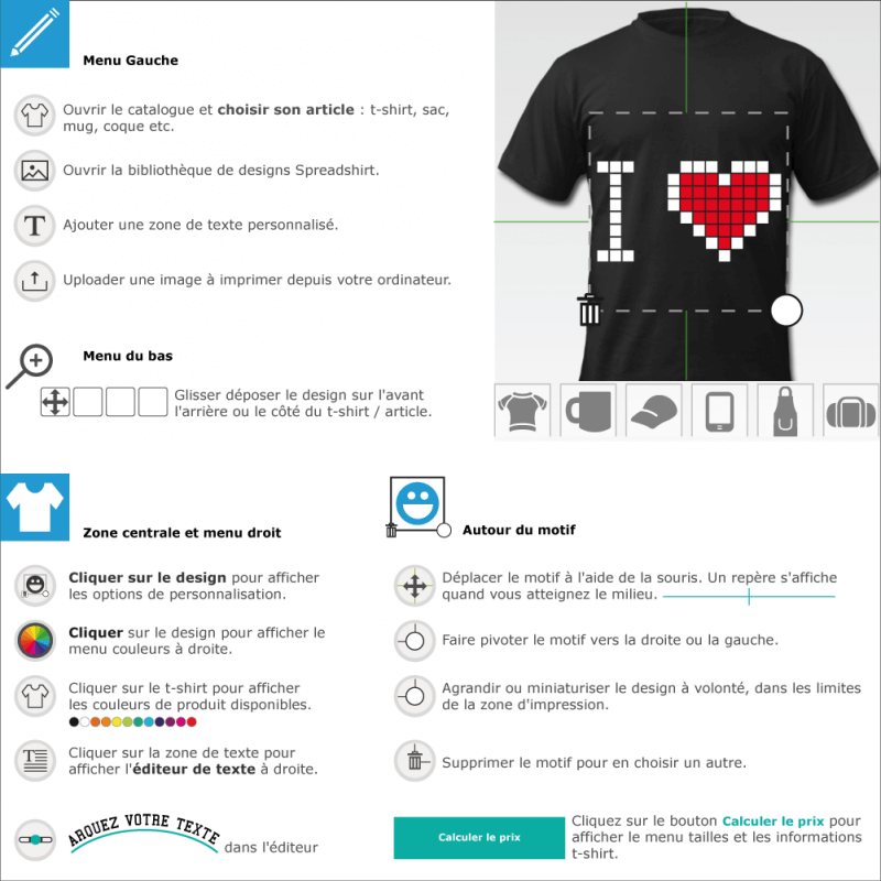 Créer un t-shirt I love geek pixels customisé