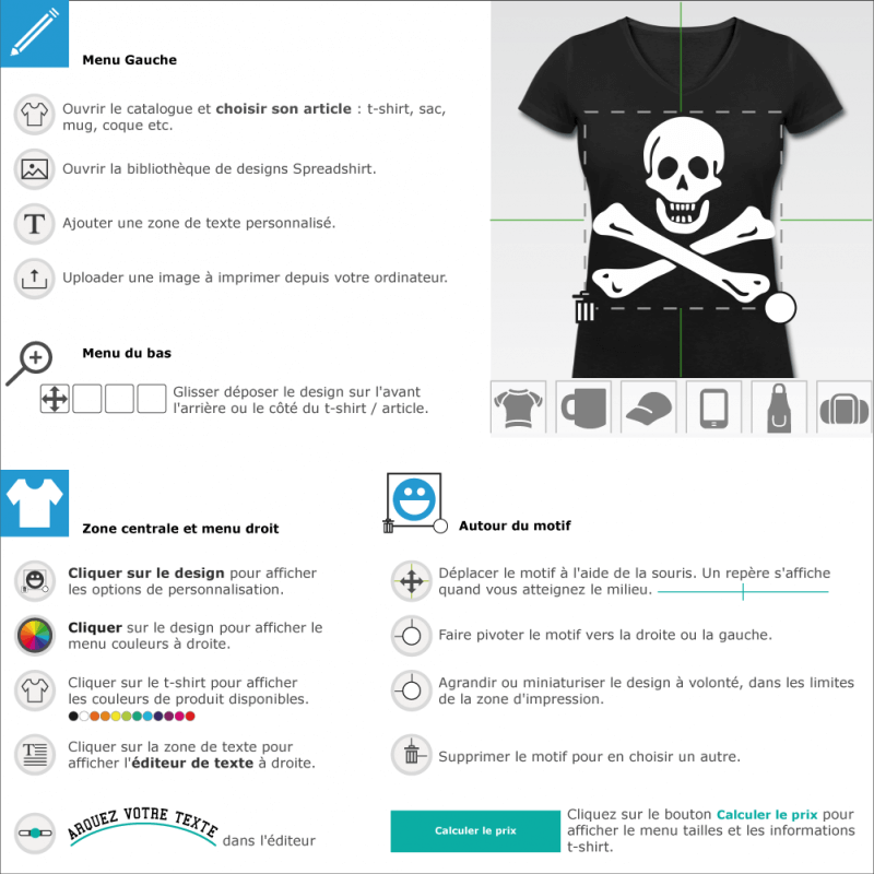 T-shirts  jolly roger drapeau pirate à imprimer