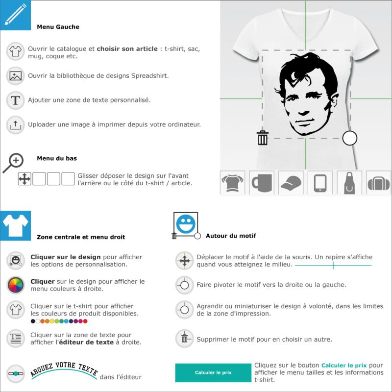 Imprimer un t-shirt Kerouac en ligne