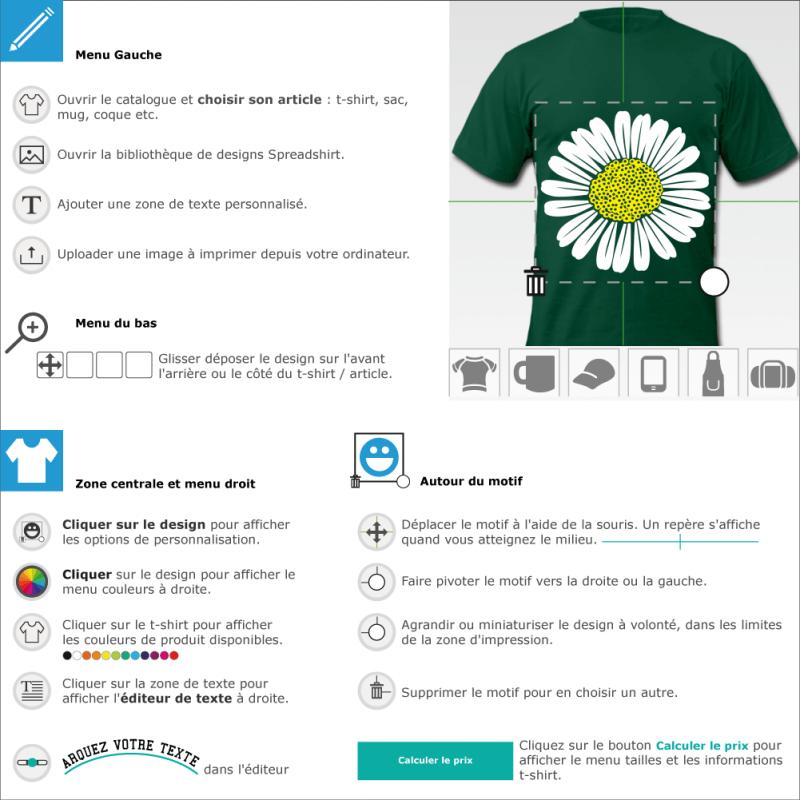 Tee shirt Marguerite personnalisée à imprimer soi-même en ligne