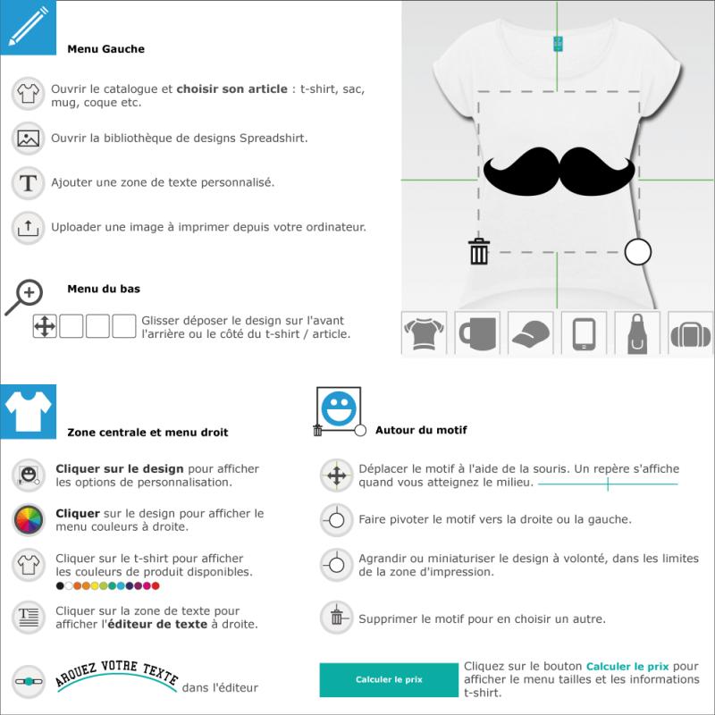Customisez un tee shirt moustache en ligne