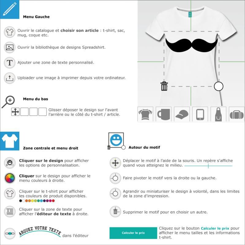 Personnalisez un t-shirt moustache indienne en ligne