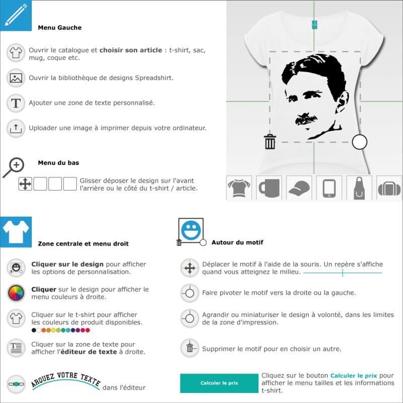 Tee shirt Nikola Tesla à designer en ligne