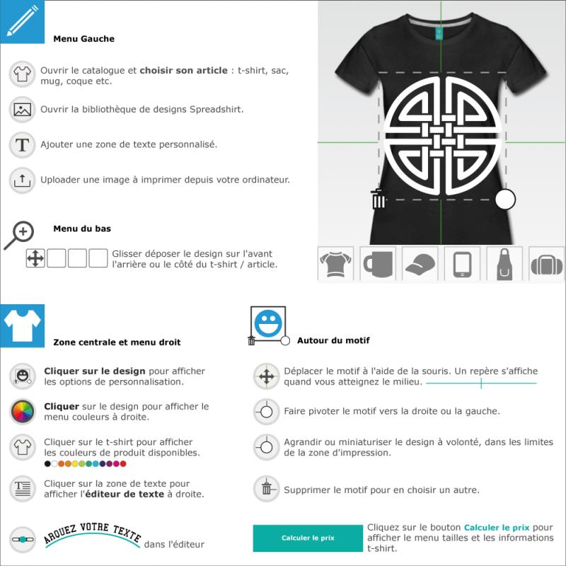 Design celtique en forme de cercle aux brins entrelacés. Imprimez votre t-shirt celte en ligne.