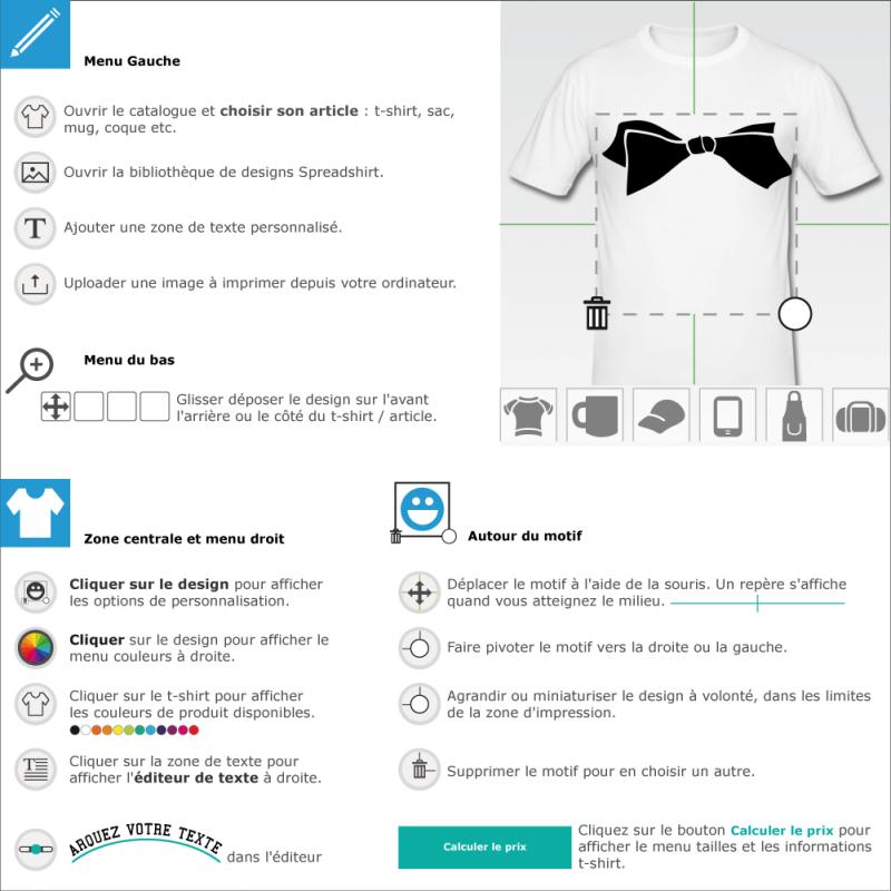 Personnalisez votre tee shirt Noeud papillon fantaisie à créer soi-même