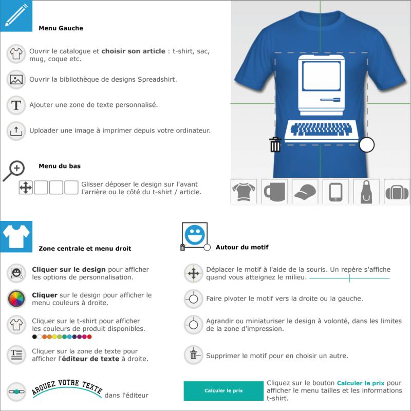 Personnaliser un t-shirt Ordinateur vintage picto à imprimer