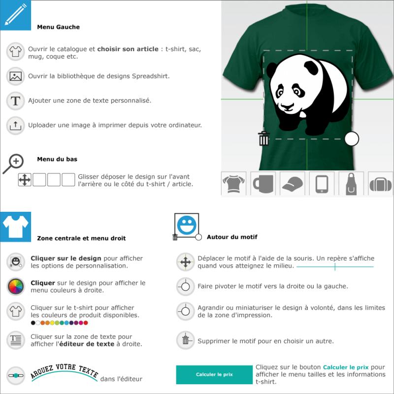 Bébé panda à quatre pattes, stylisé et aux lignes arrondies. Design noir et blanc à personnaliser dans le designer Spreadshirt.