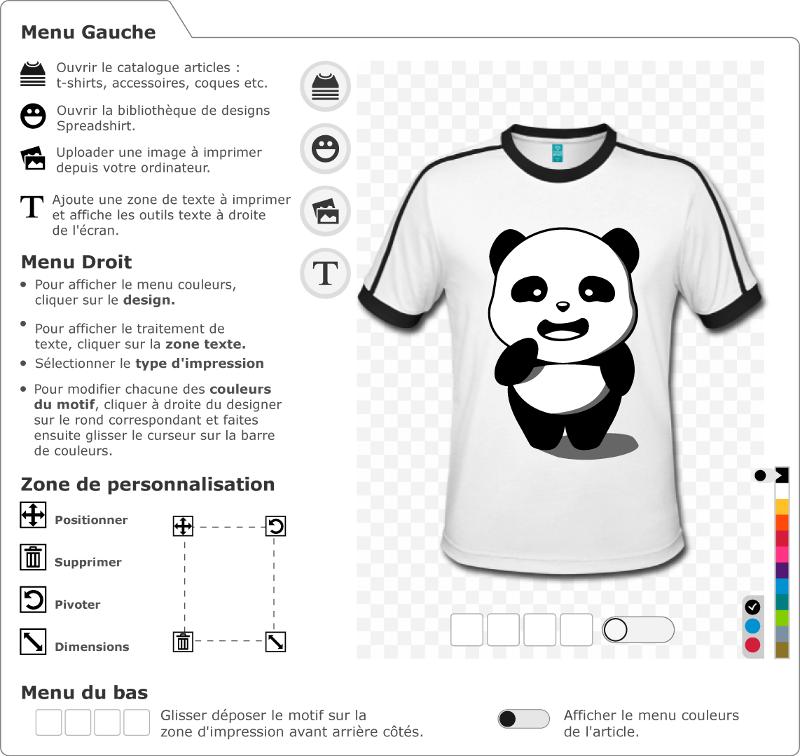 Panda 3 couleurs kawaii à personnaliser et imprimer en ligne. Customisez votre t-shirt panda.