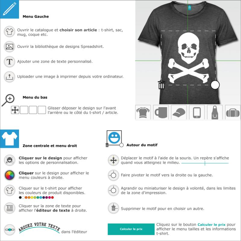 Imprimez votre t-shirt Pirate simple sourire moqueur à imprimer soi-même en ligne