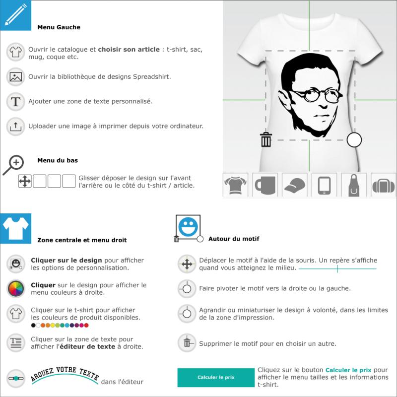 Personnalisez un t-shirt sartre à imprimer soi-même en ligne