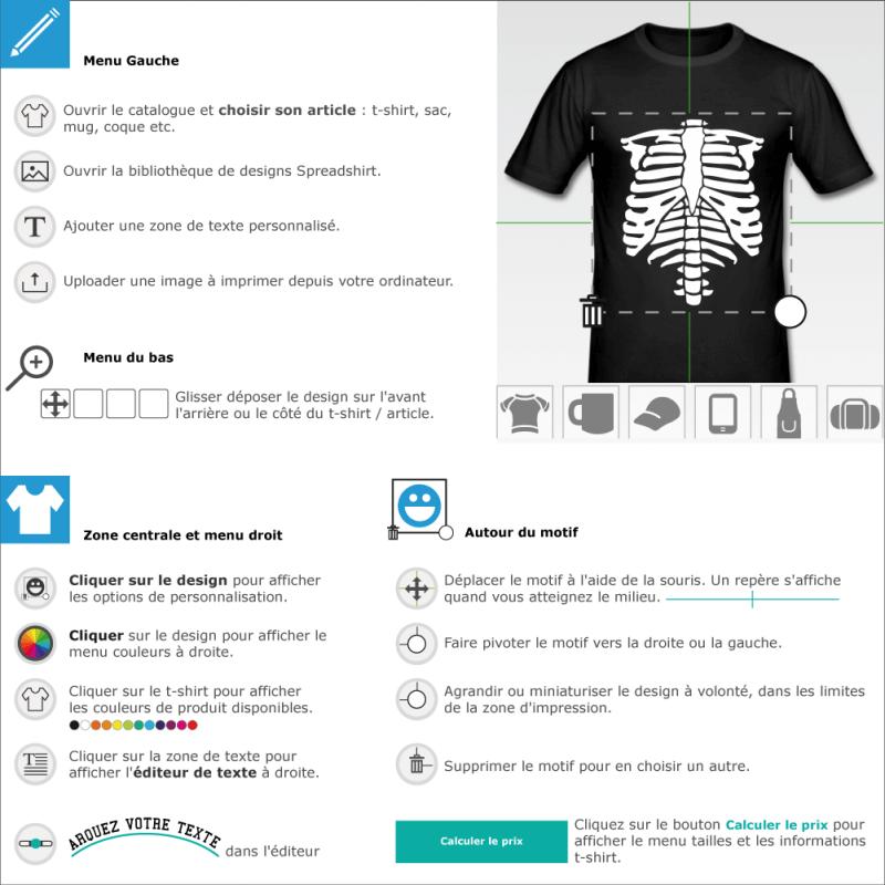 T-shirt Squelette phosphorescent personnalisé