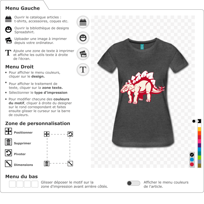 T-shirt dinosaure à personnaliser soi-même. Stegosaurus stylisé, dinosaure à plaques sur le dos. Créer un t-shirt stégosaurus.