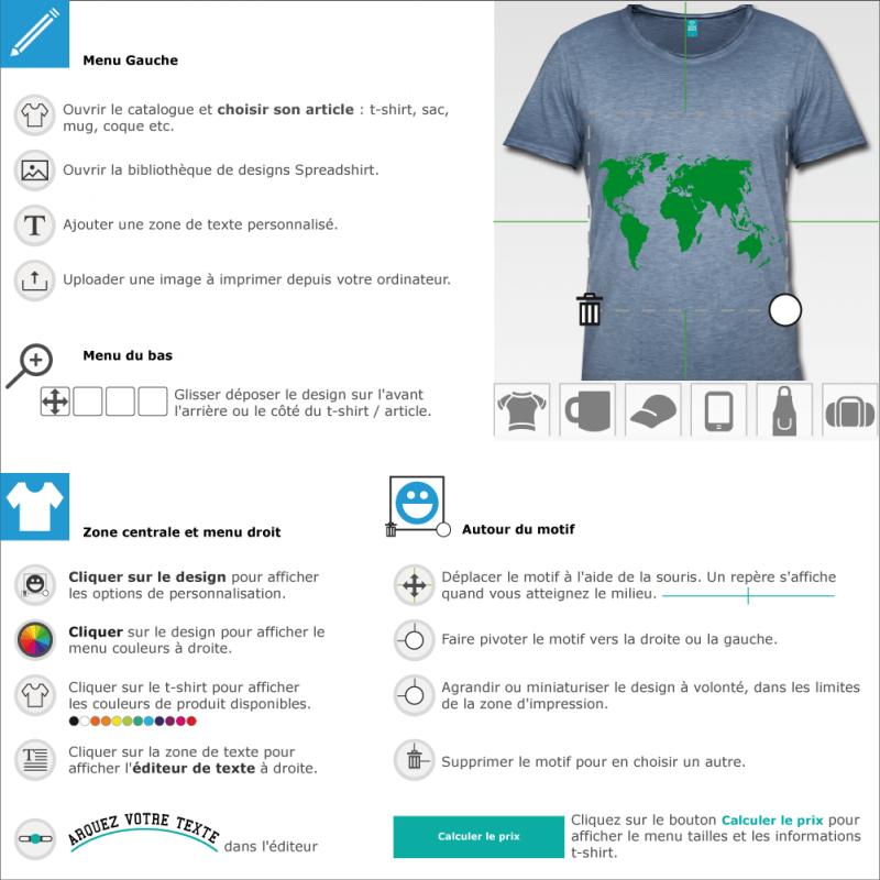 Personnaliser un t-shirt Carte du monde en ligne