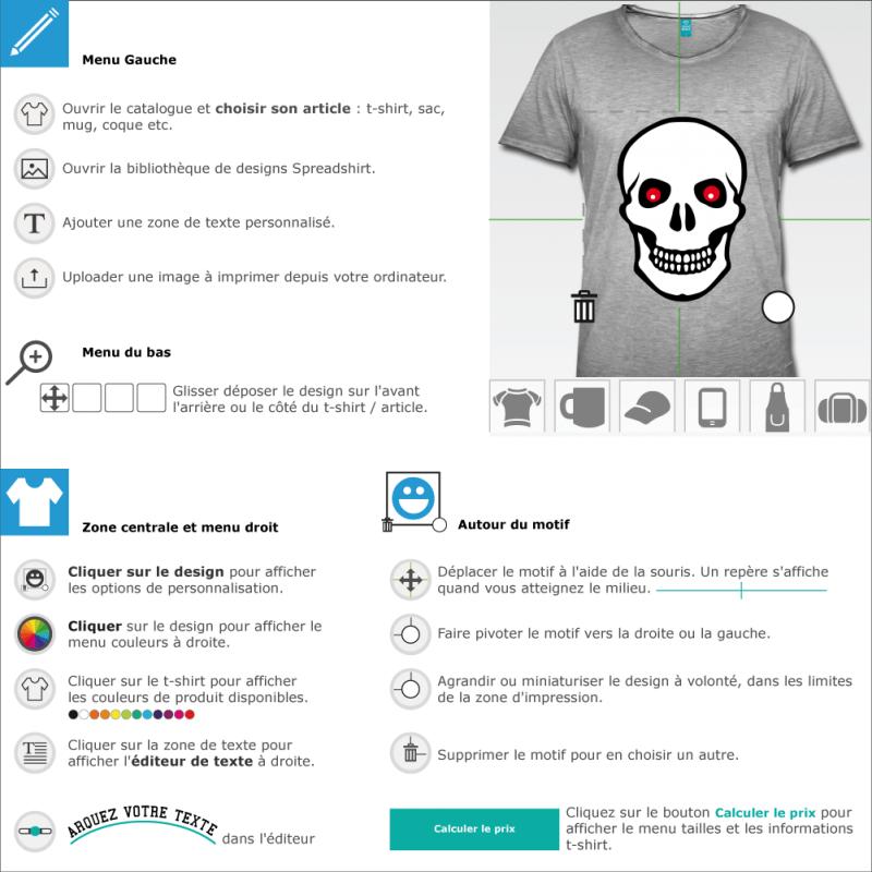 Créer un cadeau tête mort simple yeux rouges en ligne