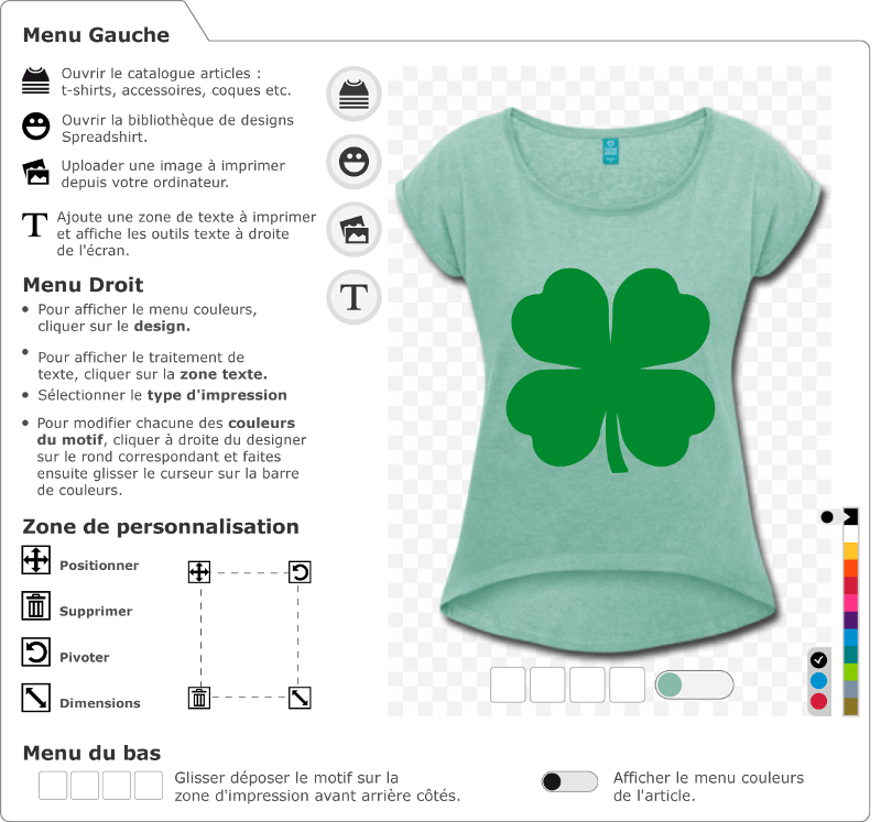 T-shirt trèfle à quatre feuilles personnalisé. Trèfle irlandais uni, à imprimer sur t-shirt St Patrick.