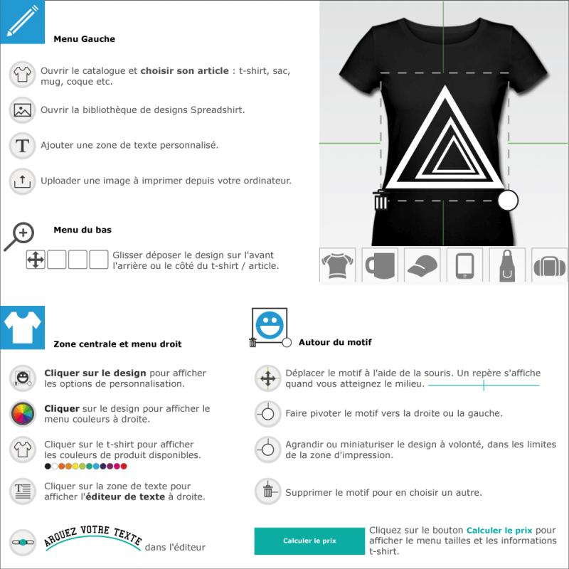 Tee shirts Triangles customisé en ligne