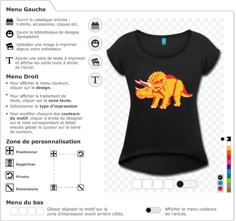 Adaptez le tricératops dans le designer Spreadshirt et créez un t-shirt dinosaure original.