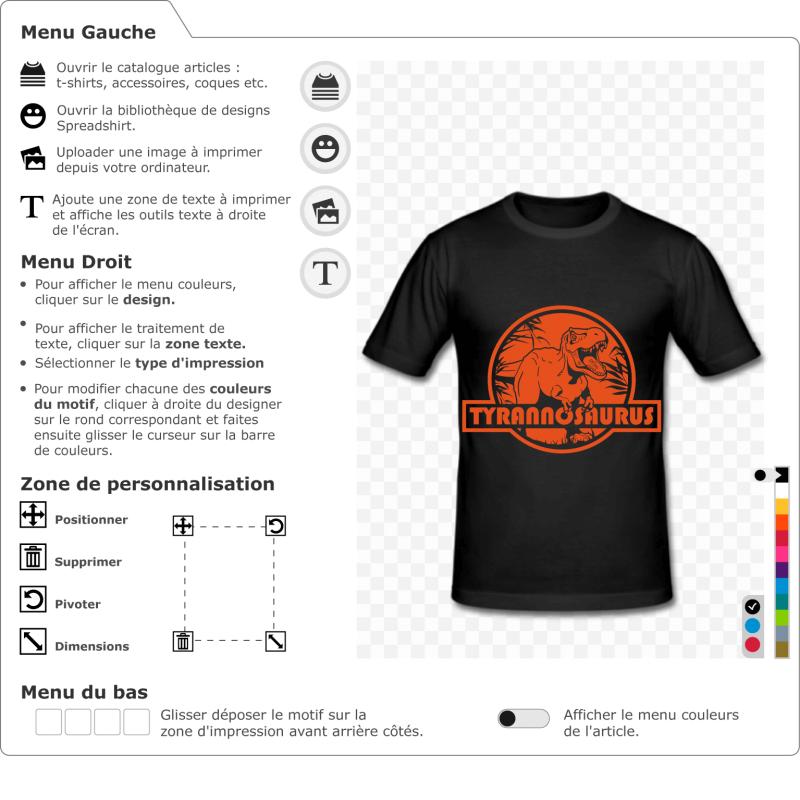 Créez votre t-shirt dinosaure personnalisé avec ce tyrannosaurus rex stylisé, découpé sur un logo rond et rouge en référence à Jurassic Park