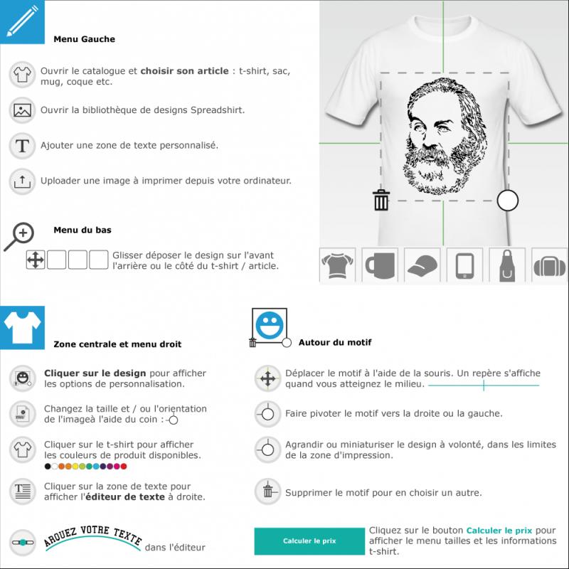 T-shirt Walt Whitman à imprimer