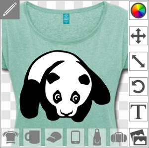 Bébé panda à plat ventre, design panda deux couleurs à imprimer sur t-shirt ou accessoire.