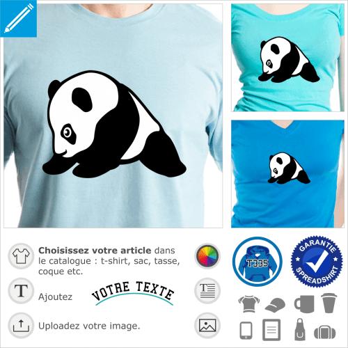 Bébé panda dessiné de profil, design mignon et kawaii à personnaliser