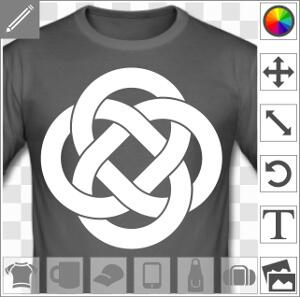 Boucles celtiques entrelacées formant un nœud décoratif à quatre portions symétriques.