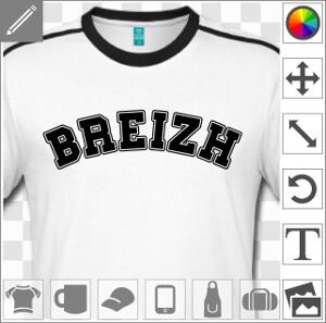 Design Bretagne à personnaliser en ligne, Breizh en typo college écrit en arc de cercle.