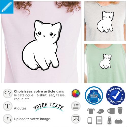 T-shirt chat kawaii dessiné de profil, avec contours fins et ombres grises.