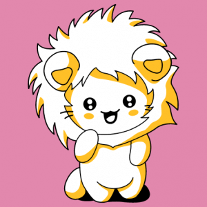 T-shirt chat rigolo portant une capuche de lion, dessiné en style kawaii.