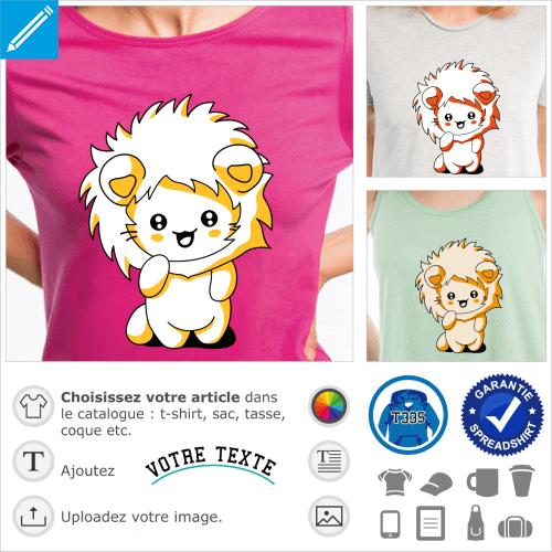 T-shirt chaton kawaii, chat rigolo portant une capuche de lion à imprimer sur t-shirt ou accessoire.