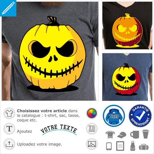 T-shirt citrouille d'Halloween original. Créer un t-shirt personnalisé avec cette citrouille sculptée.