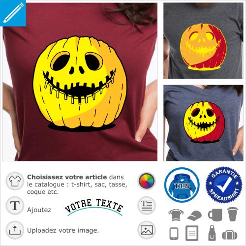 T-shirt citrouille à personnaliser et imprimer en ligne. Jack o'lantern et sourire sculpté en arc dentelé.