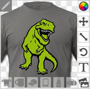 T-shirt dinosaure, t-rex stylisé opaque aux couleurs personnalisables à imprimer en ligne.
