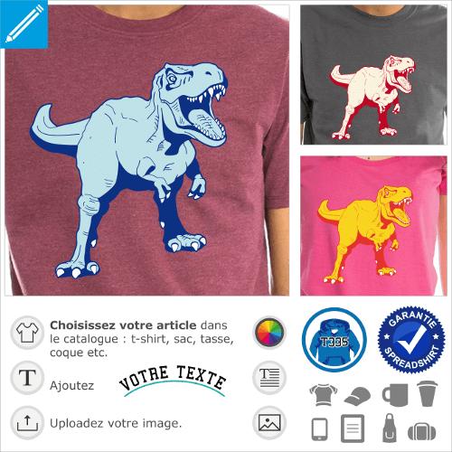 T-shirt dinosaure à personnaliser. T-rex 3 couleurs à imprimer en ligne. Tyrannosaure stylisé.