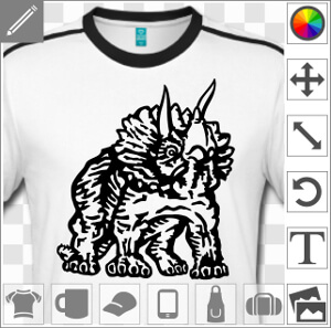 Tricératops dessiné en tracés épais et aplats sombres, un design Dinosaure spécial impression sur t-shirt.