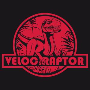 Vélociraptor découpé sur un rond comme le logo de Jurassic Park. Personnaliser un t-shirt dinosaure.