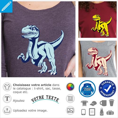 T-shirt vélociraptor à personnaliser et imprimer en ligne. Dinosaure stylisé 3 couleurs opaque.